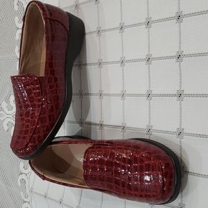 Sears Tradition Faux Red Snakeskin Loafer Shoes